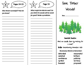 Save Timber Woods Trifold - Journeys 4th Grade Unit 6 Week 4 (2014, 2017)