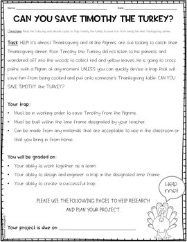 Save Timothy the Turkey Thanksgiving STEM Activity
