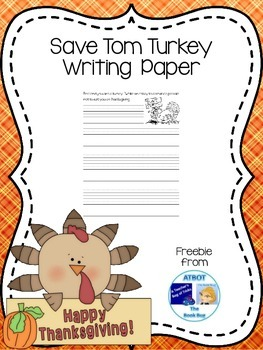 Save Tom Turkey Writing Paper