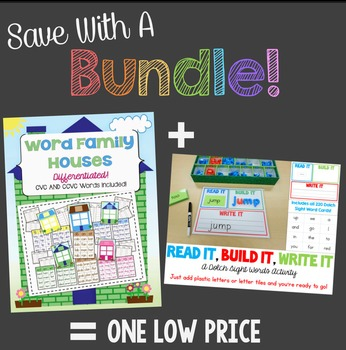 Save With A Bundle:  Word Family Houses and Read It, Build It, Write It