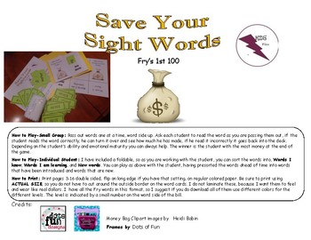 Save Your Sight Words Fry's 1st 100