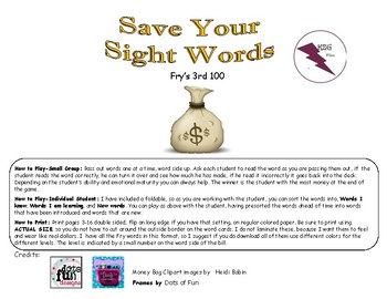 Save Your Sight Words Fry's 3rd 100