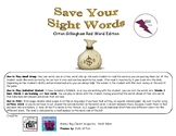 Save Your Sight Words Orton Gillingham Red Word Edition