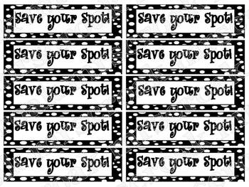 "Bookmarks: black & white polka dots: ""Save Your Spot!"""