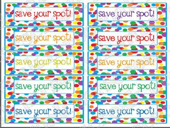 "Bookmarks: Rainbow polka dots: ""Save Your Spot"""