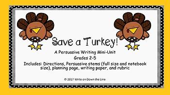 Save a Turkey! A Persuasive Writing Mini - Unit