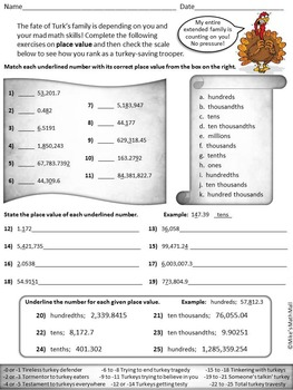 Thanksgiving Math Review - Save a Turkey! CCSS Aligned