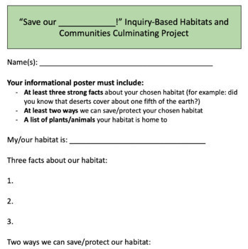 Save our Habitats - Grade 4 Inquiry-Based Habitats & Communities Project