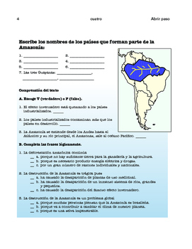 Ecology: The Amazon basin (1), Potatoes (2) content based - SP Intermediate 1