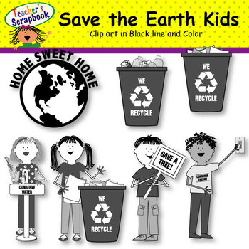 Save the Earth Kids Clip Art