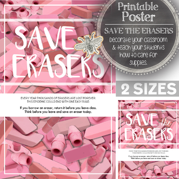 Save the Erasers! Printable Poster to Decorate Your Classroom