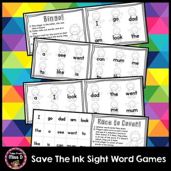 Save the Ink Sight Word Games