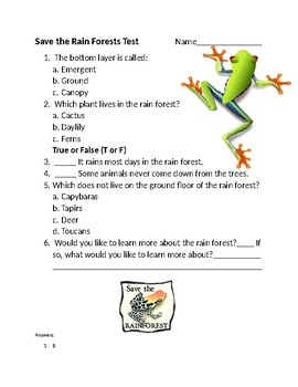 Save the Rain Forests Test