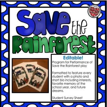 Save the Rainforest Editable Class Play Program