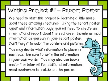 Save the Seahorses! ~ Writing and Research Center with 4 Projects!