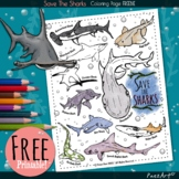 Save the Sharks Coloring Page FREEBIE, Free Printable, Dig