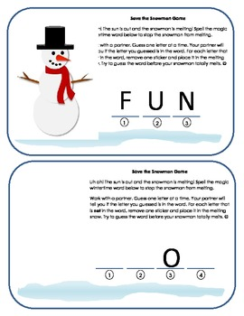 Save the Snowman!: Hangman-Style Winter Word Game (Level 1)