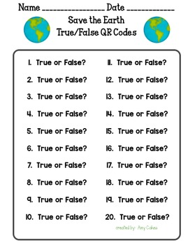 Save the Trees True/False QR Code Activity