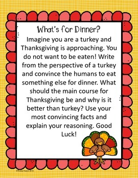 thanksgiving writing assignment