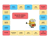 Save the minions, French game, adjectives, description, Discovering French