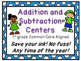 Save your ink! 1st Grade Addition and Subtraction Centers