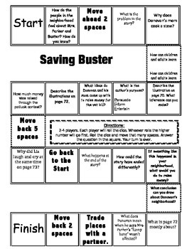 """Saving Buster"" Comprehension Game Board- Journeys story 3rd grade"