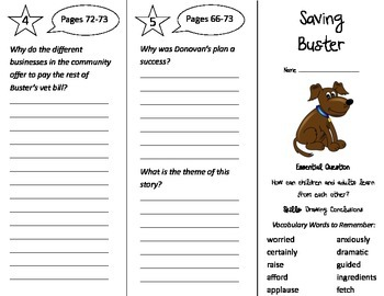 Saving Buster Trifold - Journeys 3rd Grade Unit 6 Wk 5 (2014, 2017 Common Core)