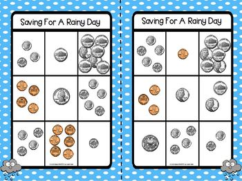 LOW PREP Weather Themed U.S. Coin Counting Bingo
