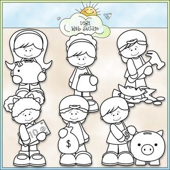 Saving Money Kids Clip Art - Piggy Bank Clip Art - CU Clip Art & B&W