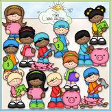 Saving Money Kids - CU Clip Art & B&W Set
