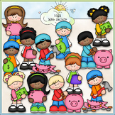Saving Money Kids - CU Clip Art & B&W Set