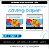 Saving Paper • Reading Comprehension Passages and Questions • RL I & II