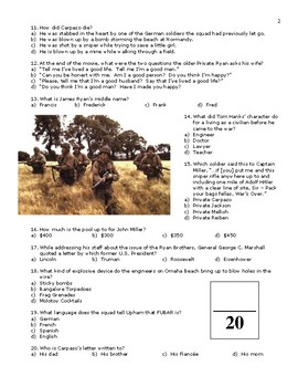 wwii saving private ryan movie quiz application answers