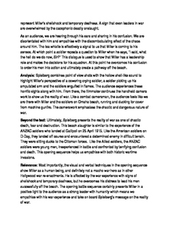 Saving Private Ryan scaffolded essay
