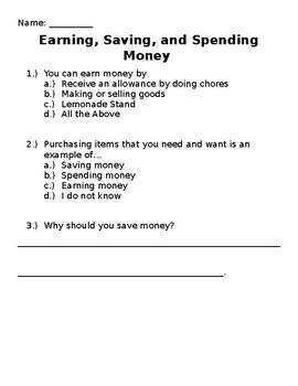 Saving, Spending, and Earning Money Assessment