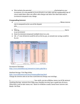 Saving, Stocks and Investment Note Sheet