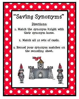 Synonyms Literacy Center - Set 1