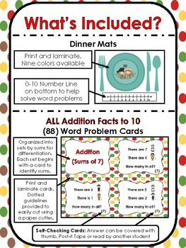 Saving Thanksgiving Dinner ALL Addition Facts to 10 Word Problem Game