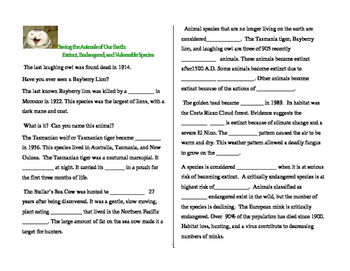 Saving the Animals of Our Earth worksheets, quiz,and  project