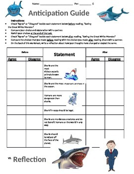 Saving the Great White Monster Anticipation Guide