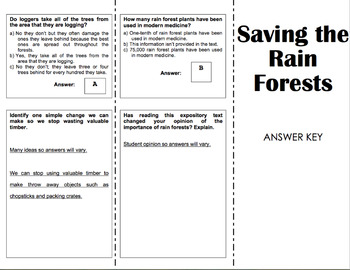 Saving the Rain Forests - 6th Grade Reading Street