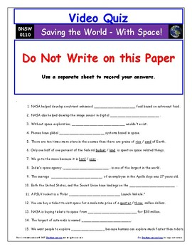 "Differentiated Video Guide, Quiz & Ans. for ""Saving the World With Space*"""