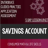 Savings Account Lesson Unit Consumer Math Life Skills Spec