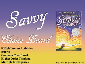Savvy Choice Board Novel Study Activities Menu Book Project with Rubric