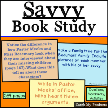 Savvy by Ingrid Law Book Study for PROMETHEAN Board Use