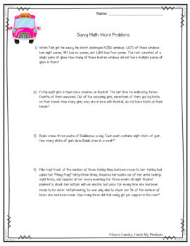 Savvy: Math Word Problems for Novel by Ingrid Law