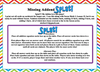Saxon 3 (3rd Grade) Lesson 15 Extension game - Missing addends Game