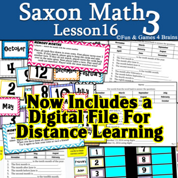 Saxon 3(3rd Grade)Lesson 16 Extension game-Numbering months Game&2practice pages