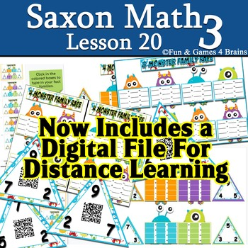 Saxon 3(3rd Grade)Lesson 20-1 Extension game-Add and Subtract Fact Families