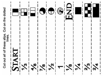 Saxon 3 (3rd Grade) Lesson 21 Extension game - fractions